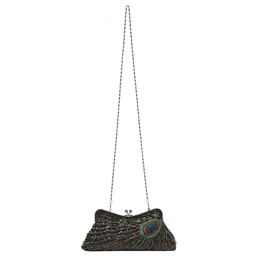 LAUREL Black Sequined Evening Bag strap