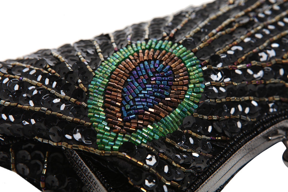 LAUREL Black Sequined Evening Bag closeup