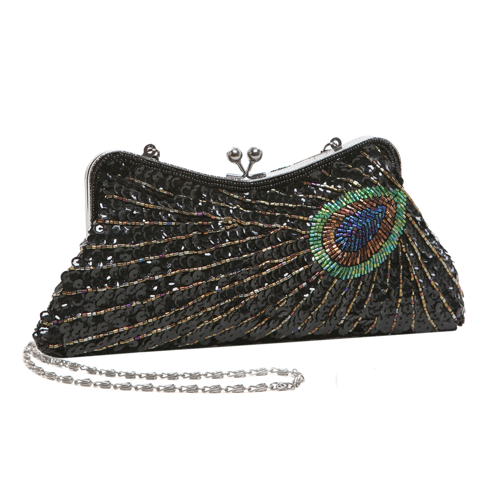 LAUREL Black Sequined Evening Bag main