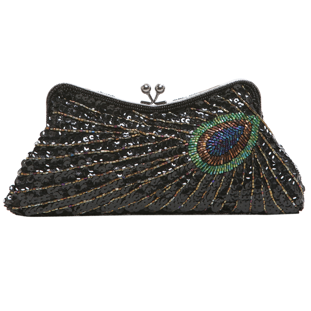 LAUREL Black Sequined Evening Bag front