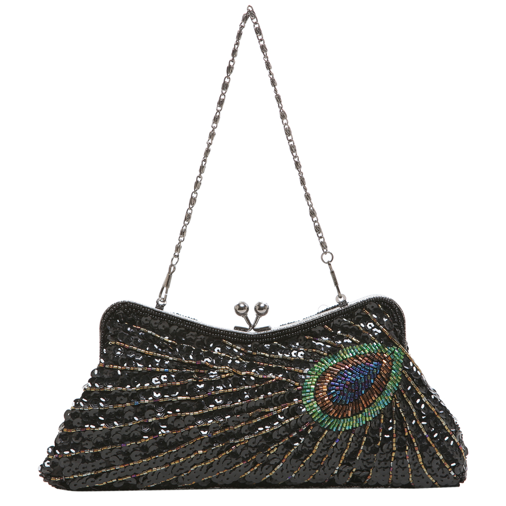 LAUREL Black Sequined Evening Bag short strap