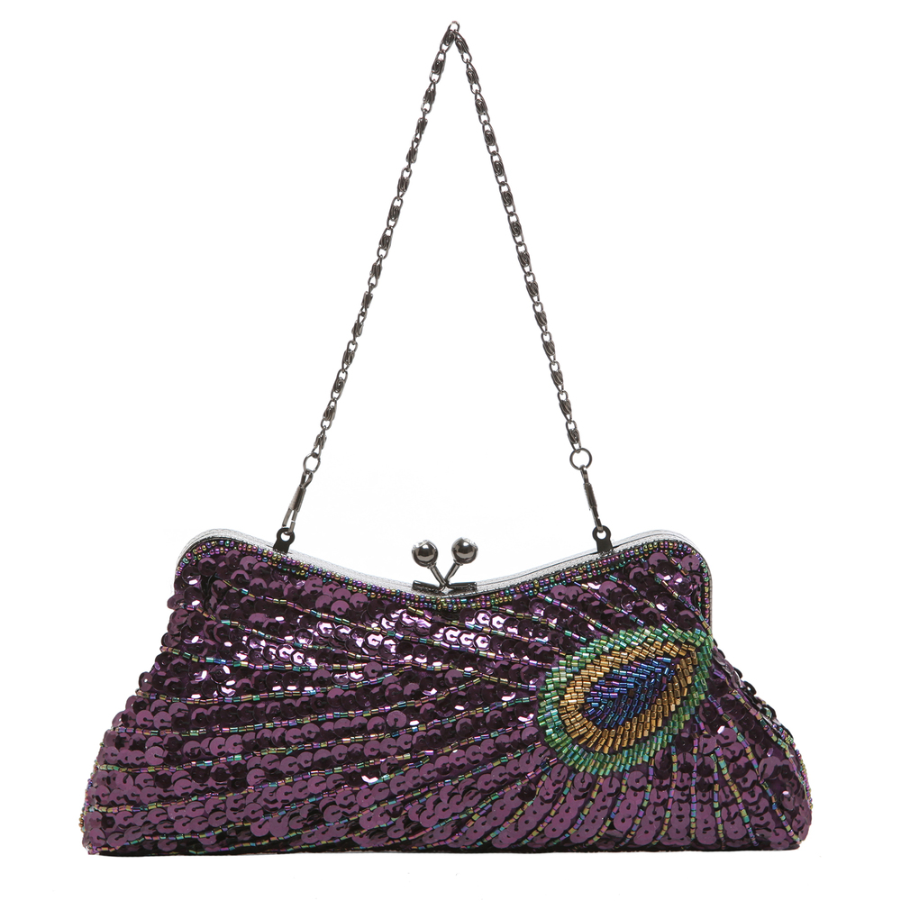 LAUREL Purple Sequined Evening Bag short strap