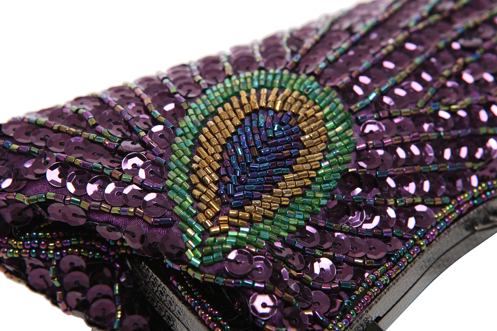LAUREL Purple Sequined Evening Bag sequin closeup