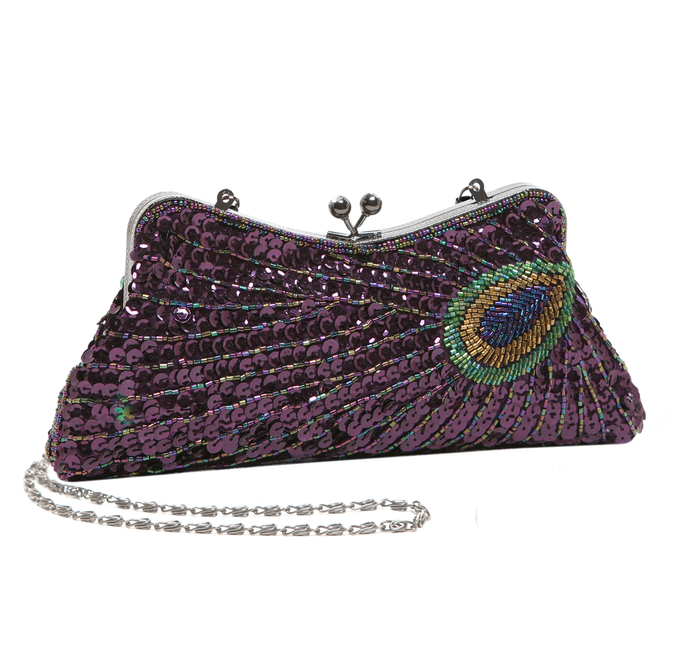 LAUREL Purple Sequined Evening Bag main