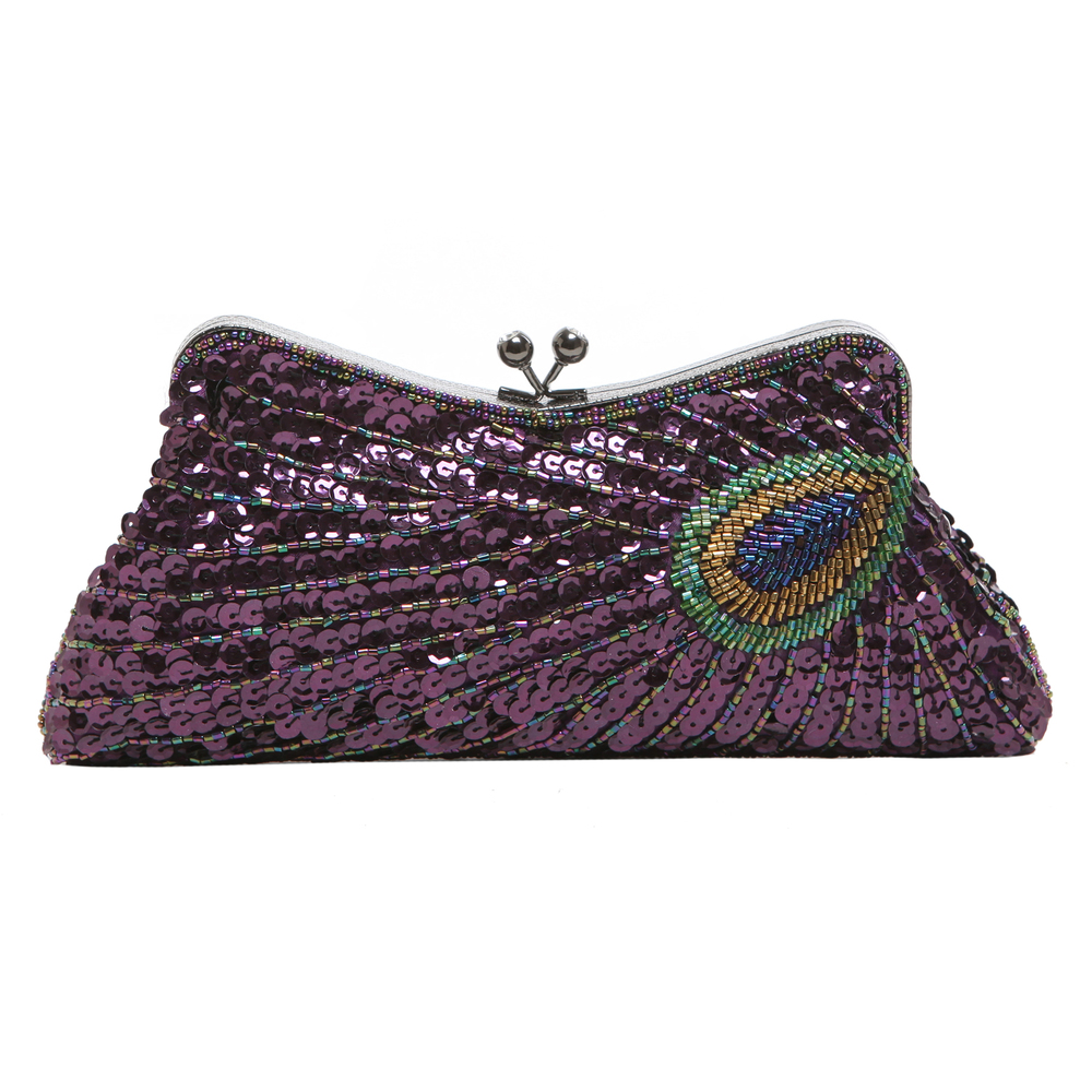 LAUREL Purple Sequined Evening Bag front