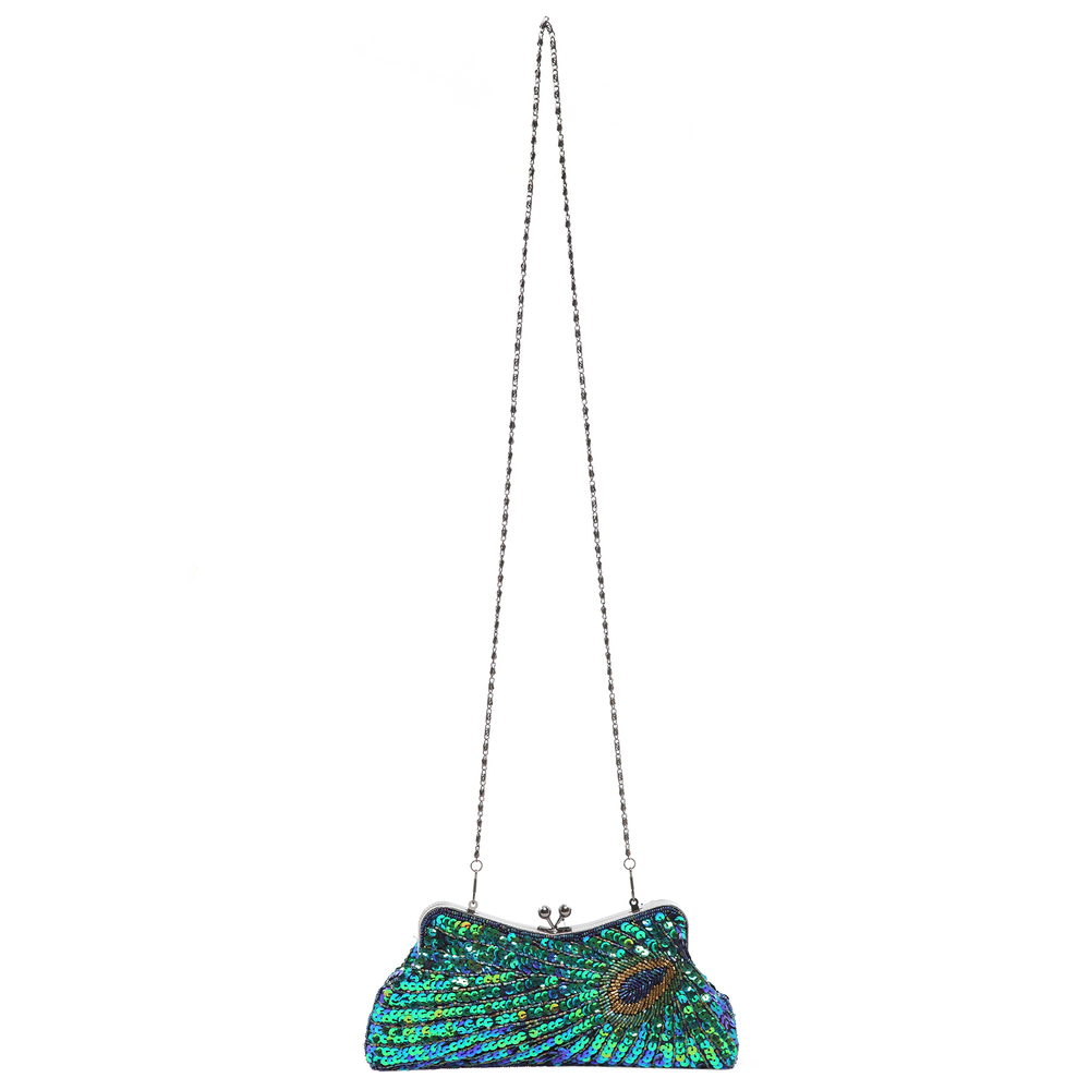 LAUREL Green Sequined Evening Bag long shoulder strap