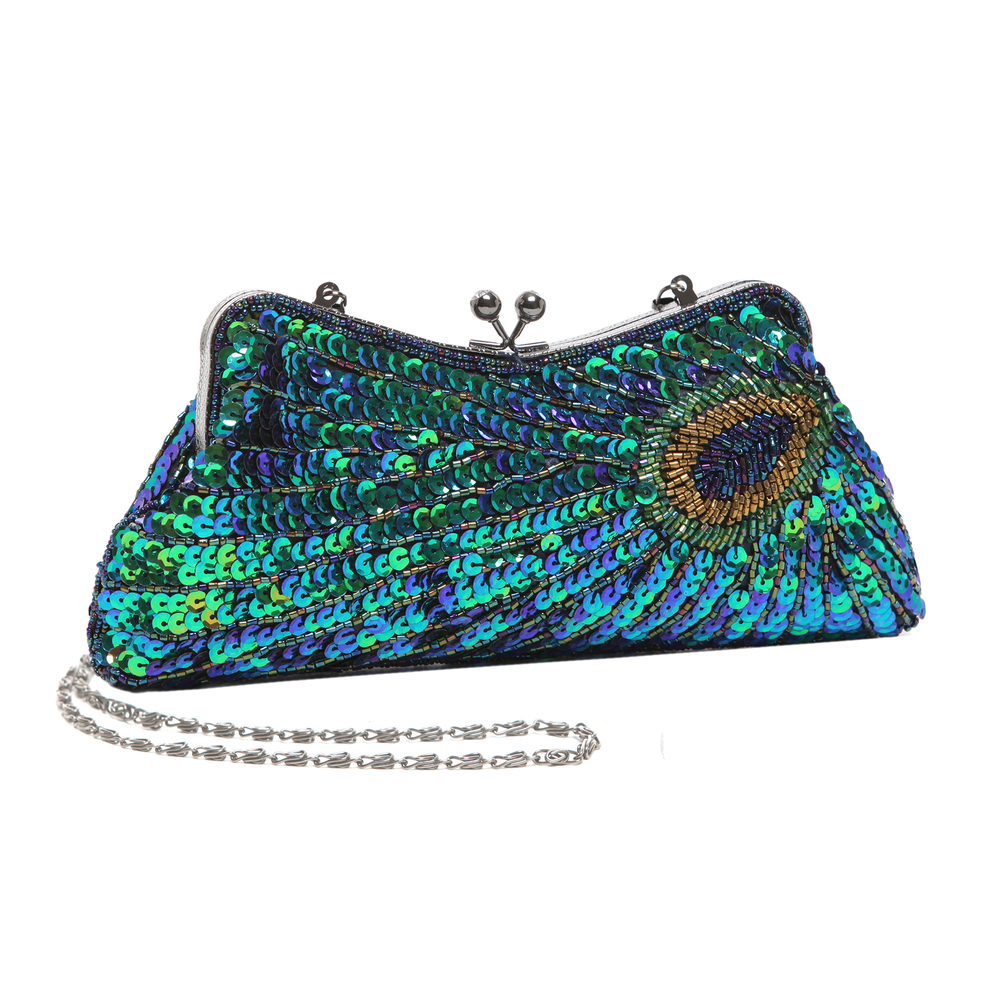 LAUREL Green Sequined Evening Bag main