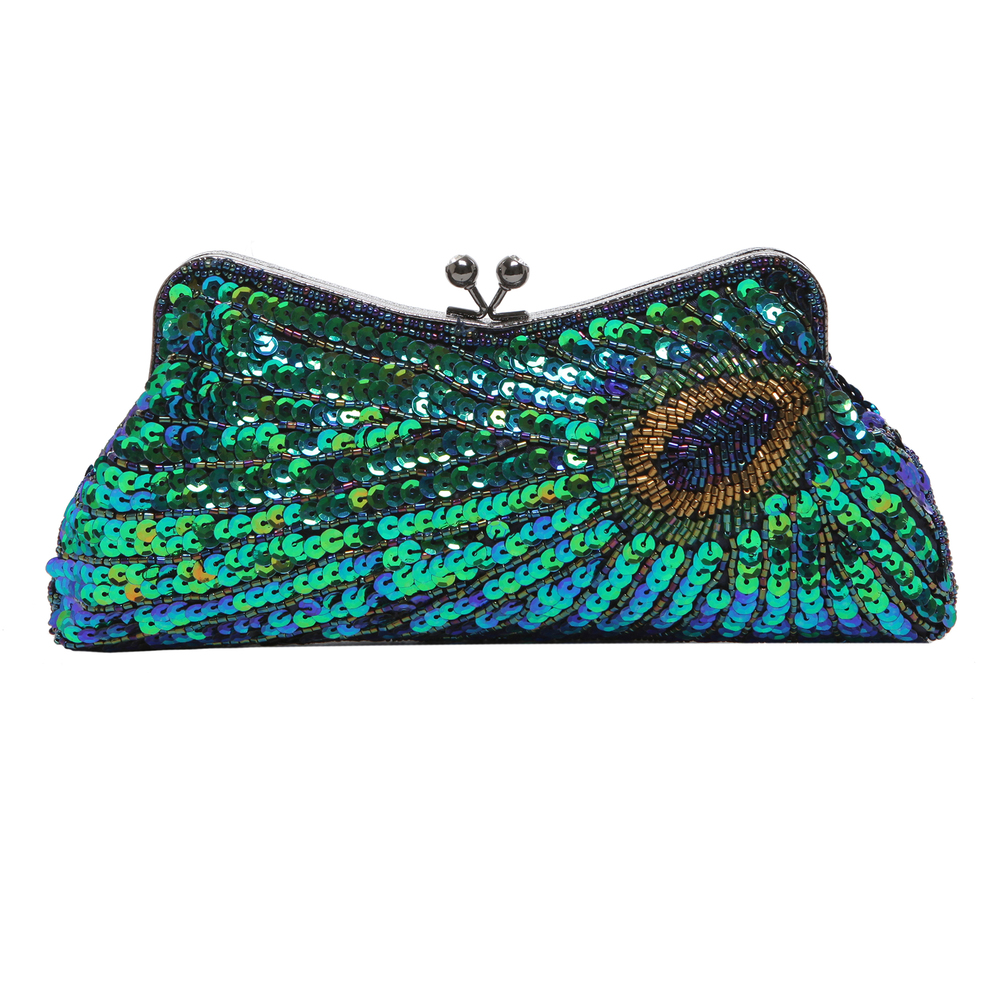 LAUREL Green Sequined Evening Bag front