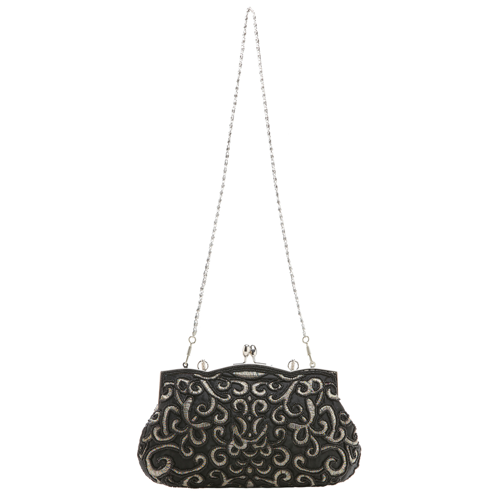 ADELE Black Embroidered Evening Handbag long strap