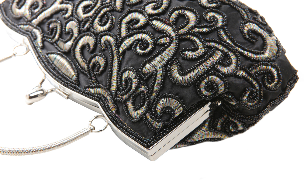 ADELE Black Embroidered Evening Handbag closeup