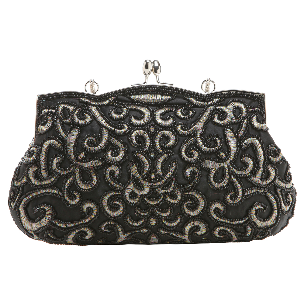 ADELE Black Embroidered Evening Handbag back