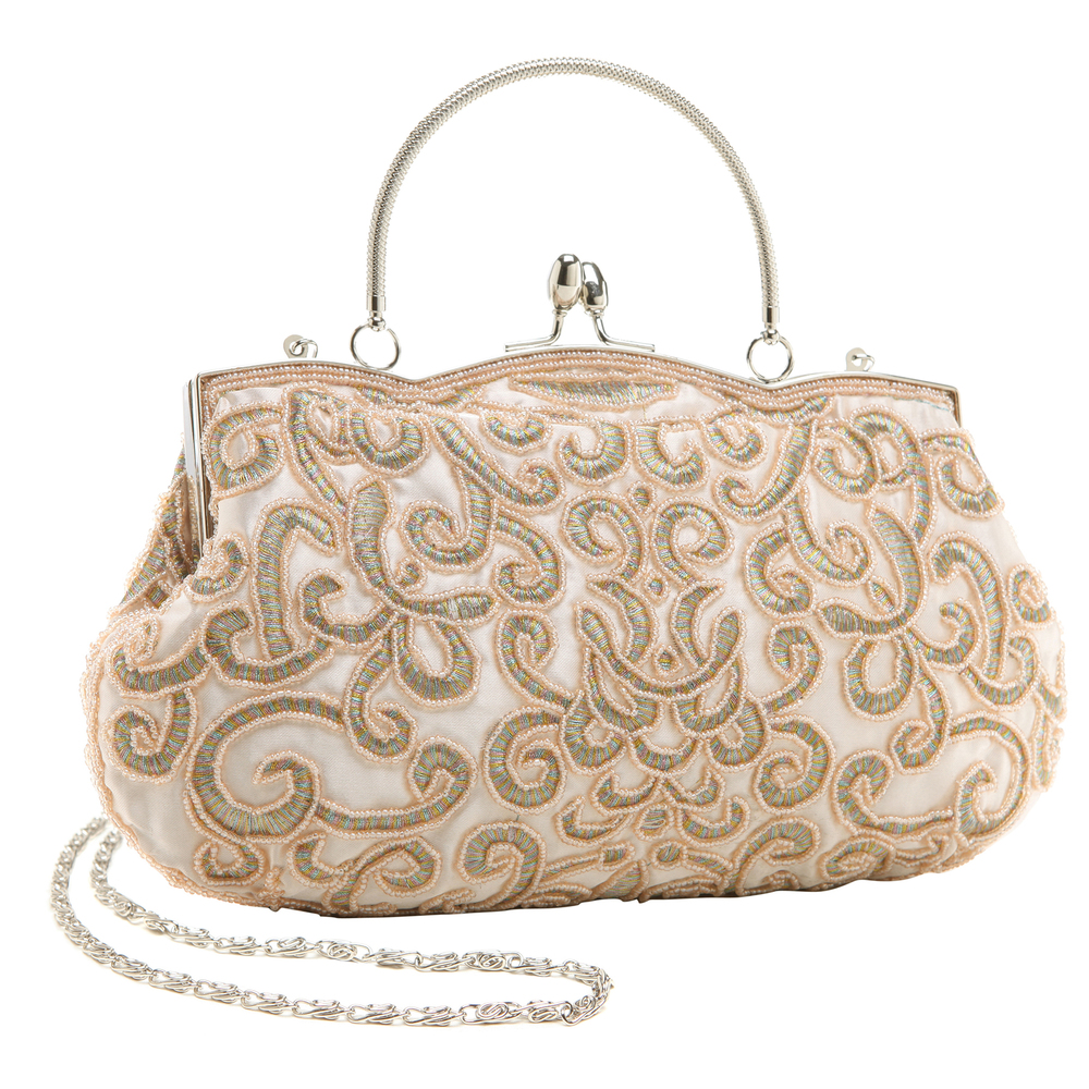 ADELE Champagne Embroidered Evening Handbag main