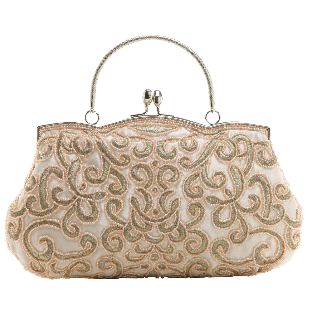ADELE Champagne Embroidered Evening Handbag front