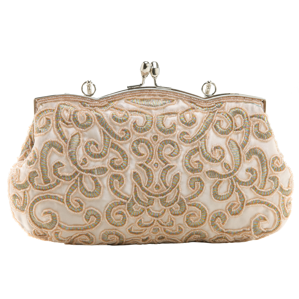 ADELE Champagne Embroidered Evening Handbag back