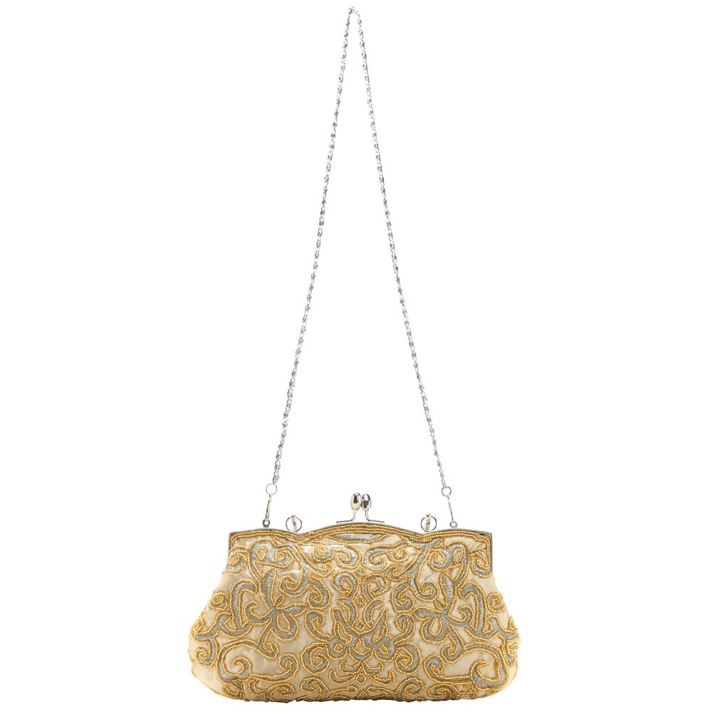 ADELE Gold Embroidered Evening Handbag long strap