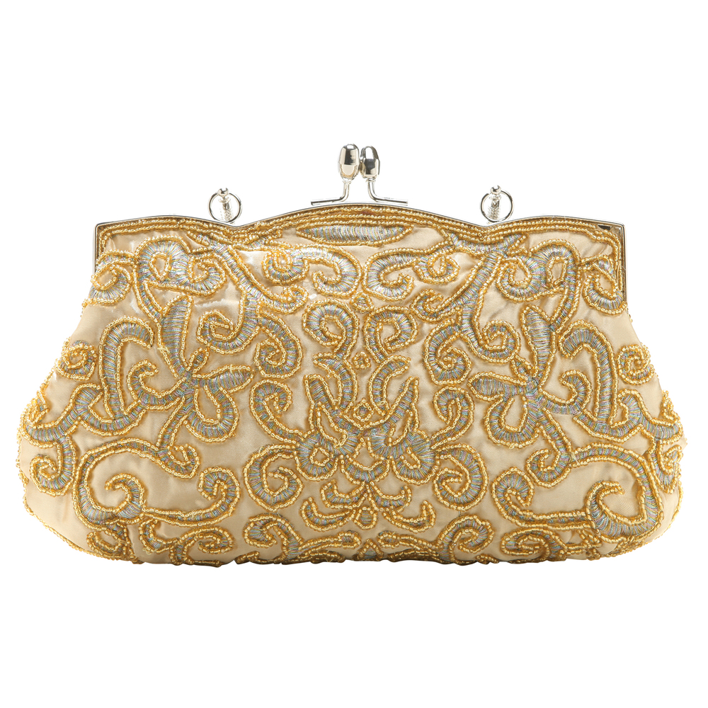 ADELE Gold Embroidered Evening Handbag back