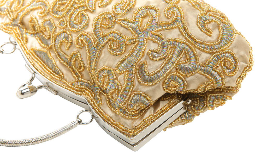 ADELE Gold Embroidered Evening Handbag closeup