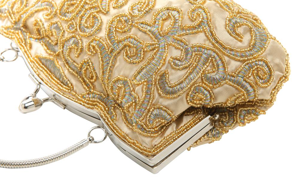 ADELE Gold Embroidered Evening Handbag closeup