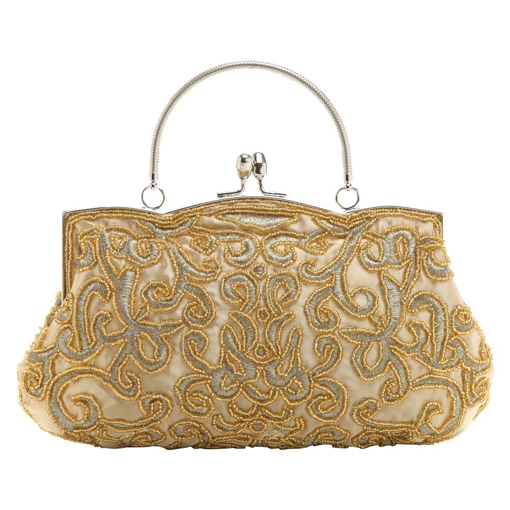 ADELE Gold Embroidered Evening Handbag front