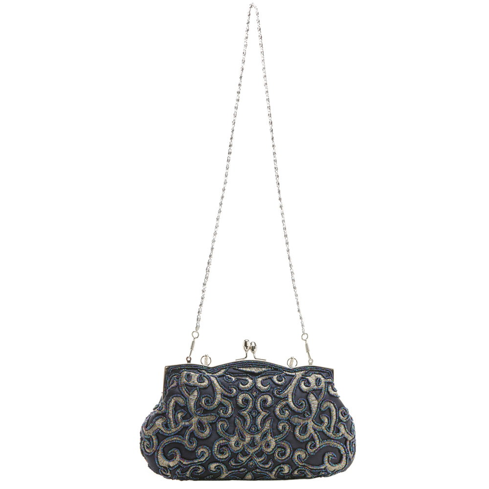 ADELE Navy Embroidered Evening Handbag strap