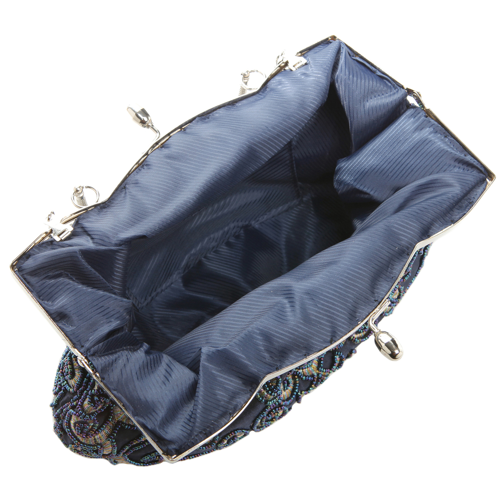 ADELE Navy Embroidered Evening Handbag interior