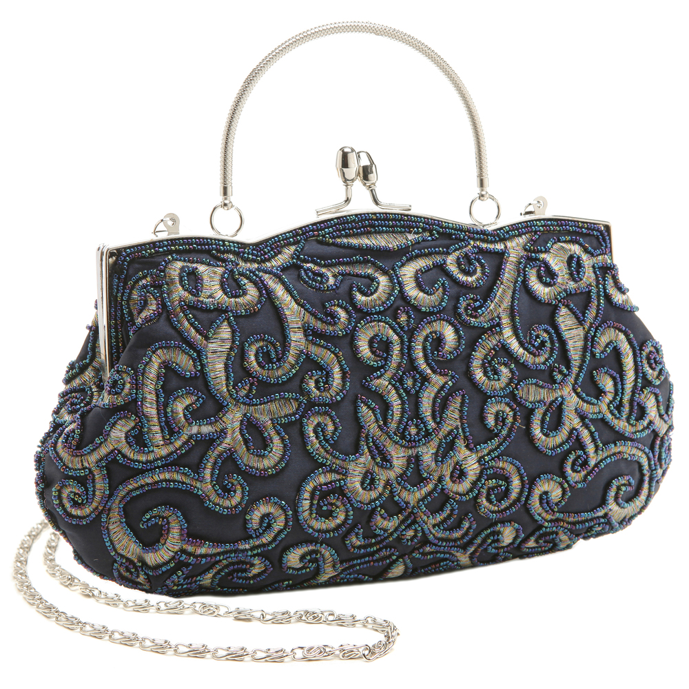 ADELE Navy Embroidered Evening Handbag main
