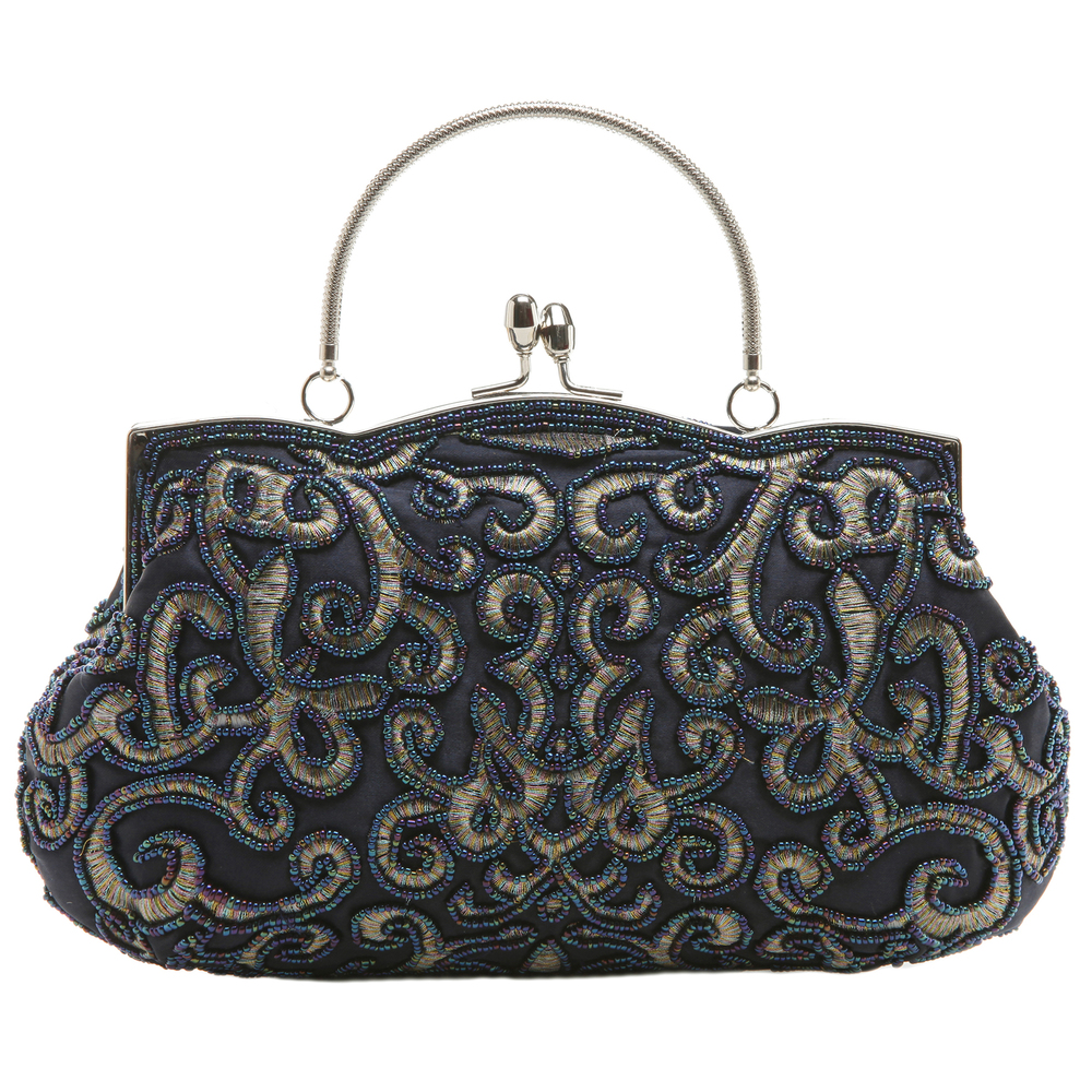 ADELE Navy Embroidered Evening Handbag front