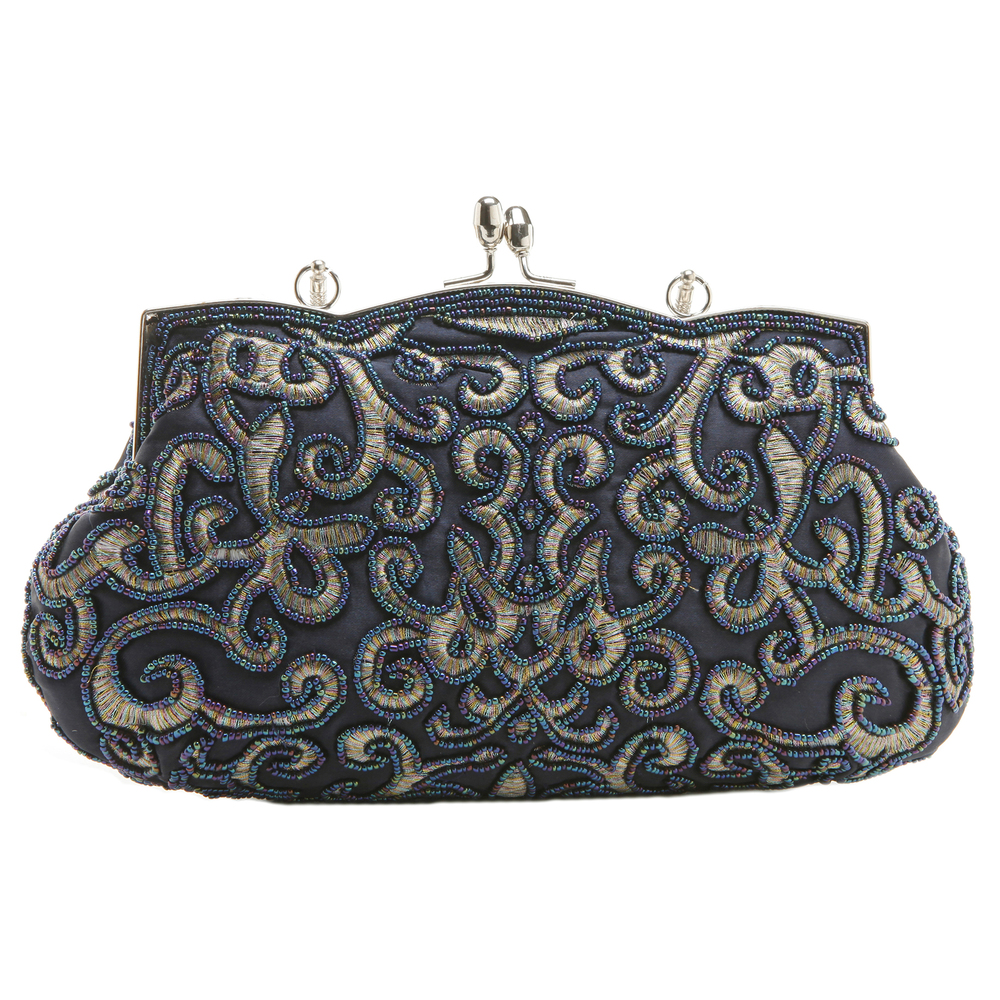 ADELE Navy Embroidered Evening Handbag back