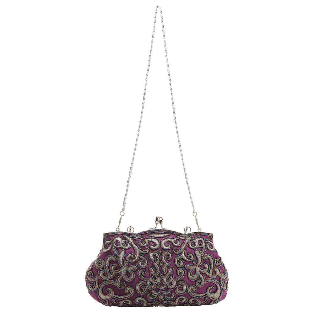 ADELE Purple Embroidered Evening Bag strap