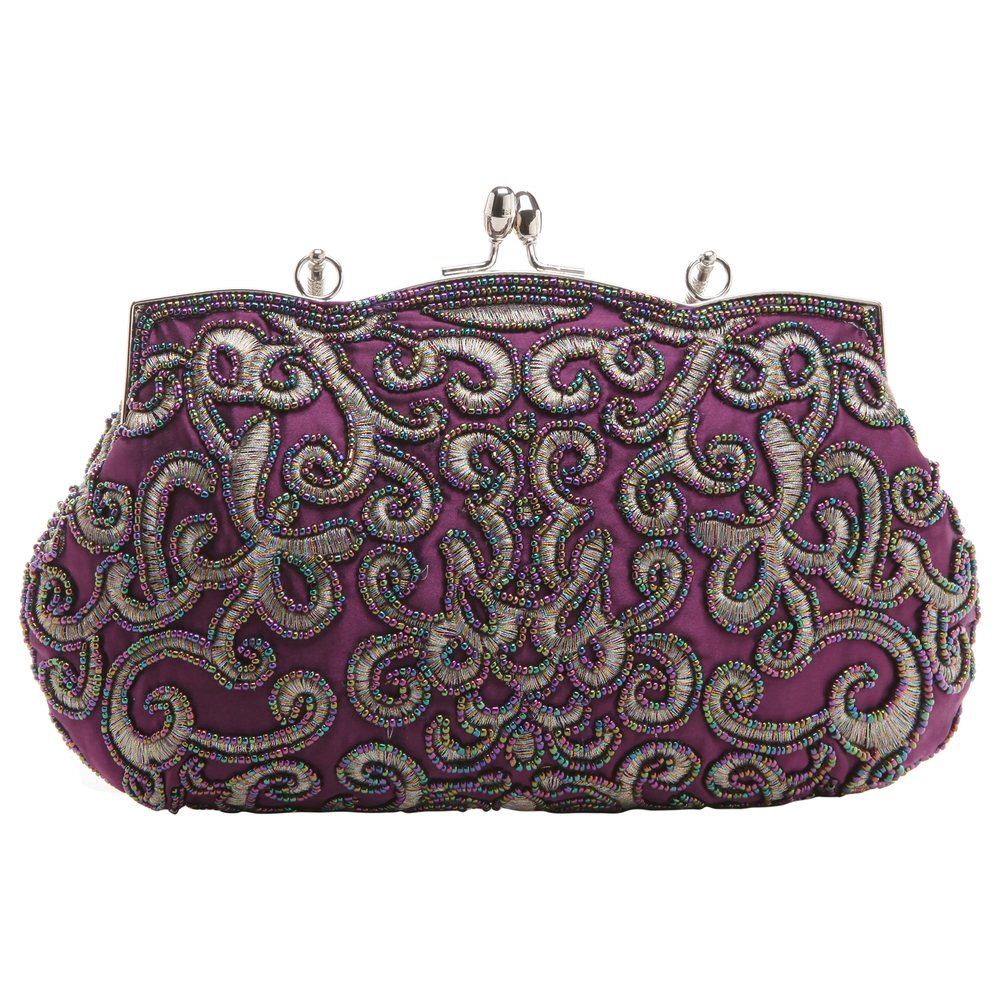 ADELE Purple Embroidered Evening Bag back
