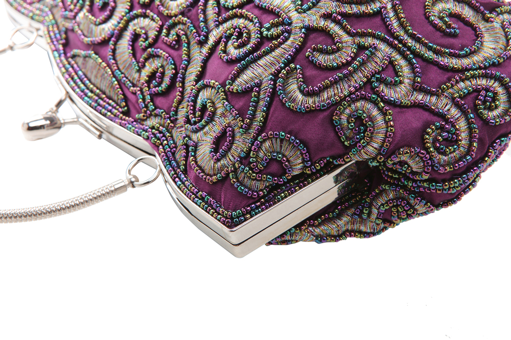 ADELE Purple Embroidered Evening Bag closeup