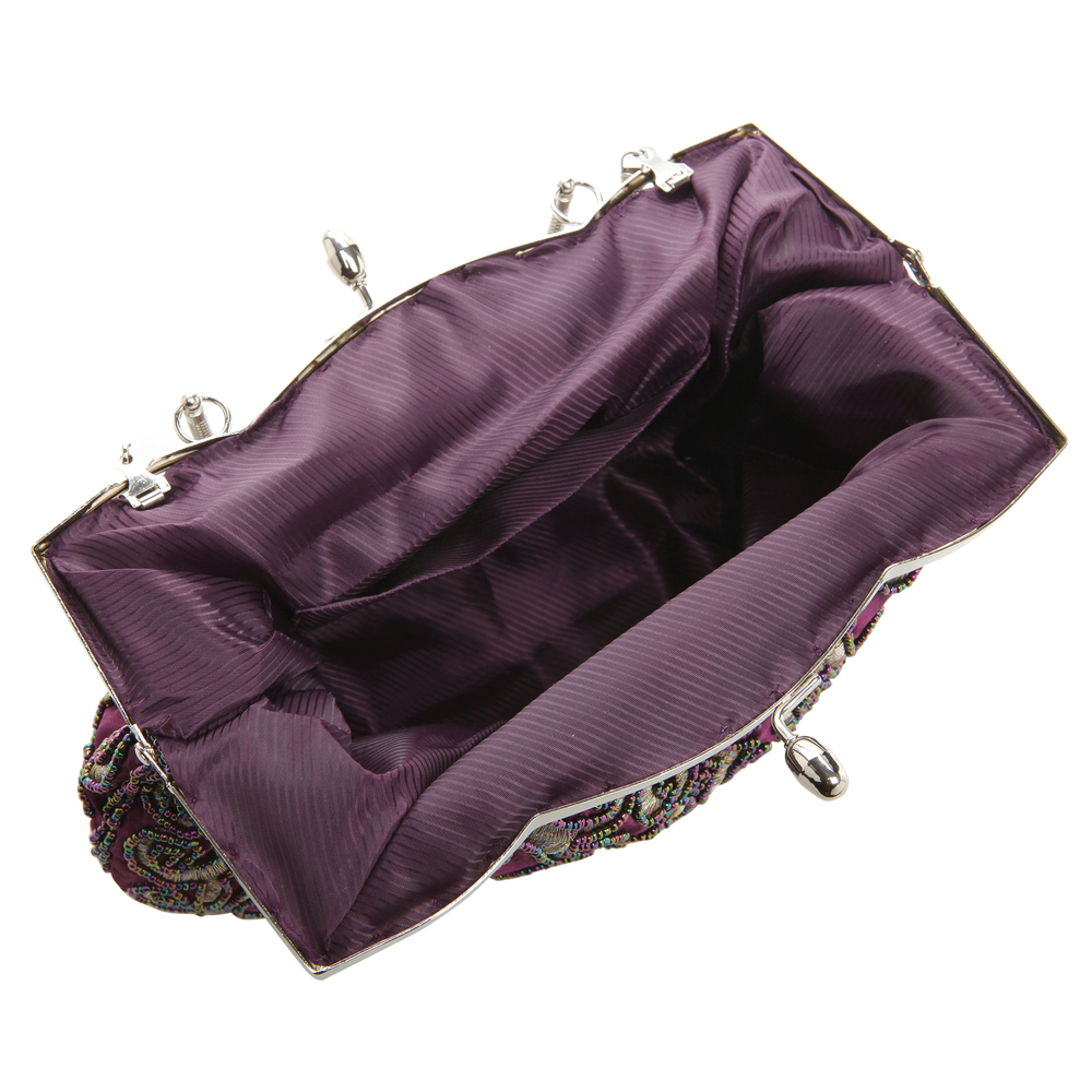 ADELE Purple Embroidered Evening Bag interior