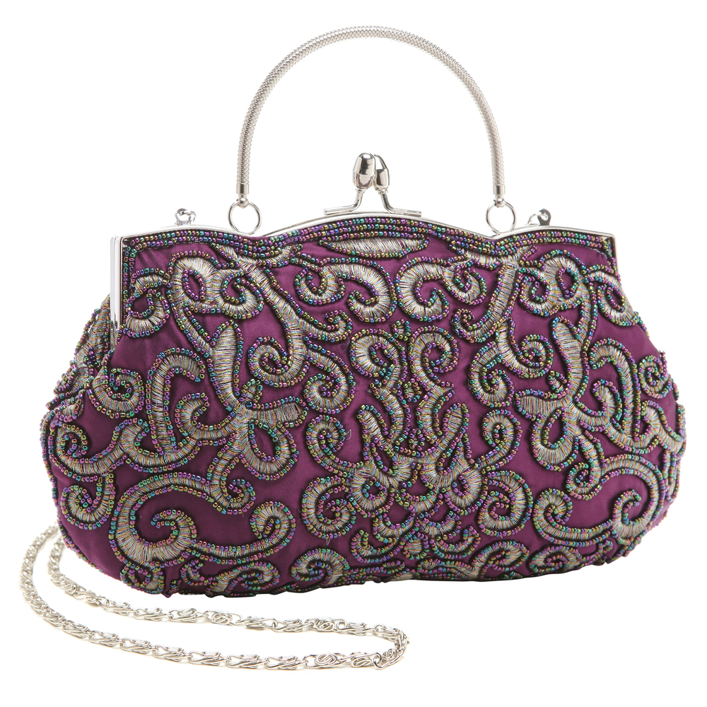 ADELE Purple Embroidered Evening Bag main
