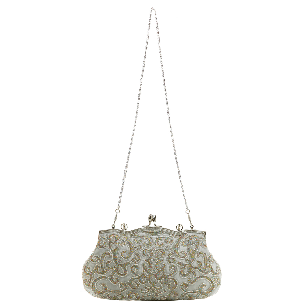 ADELE Silver Embroidered Evening Bag strap