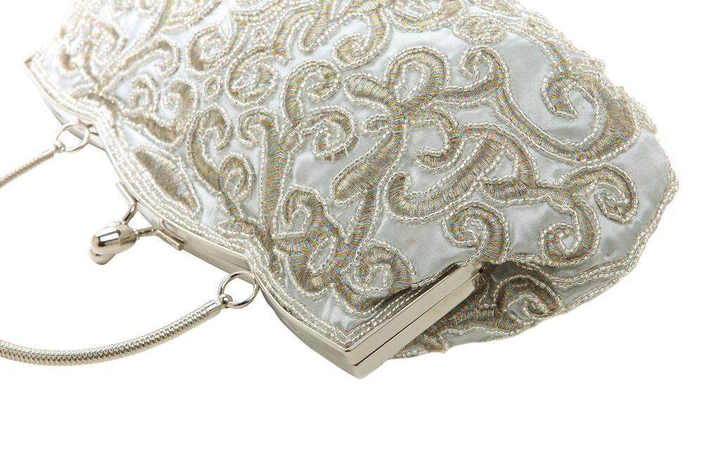 ADELE Silver Embroidered Evening Bag closeup