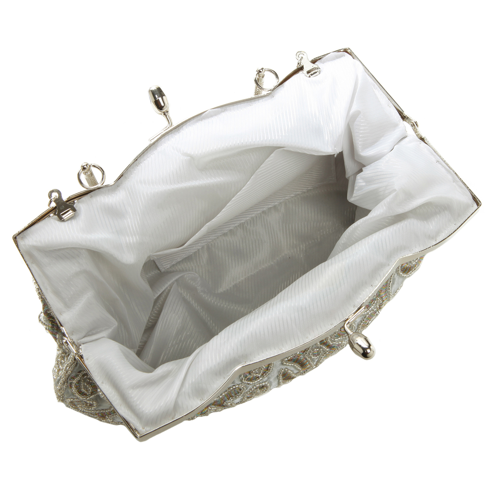 ADELE Silver Embroidered Evening Bag Interior