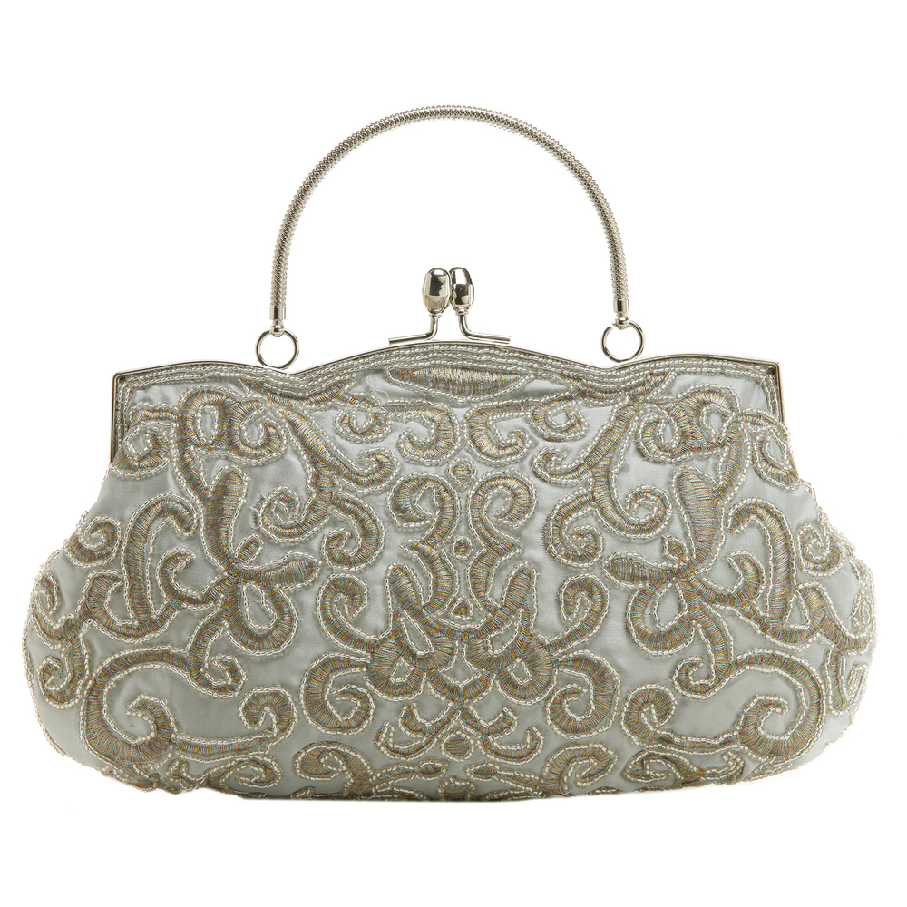 ADELE Silver Embroidered Evening Bag front