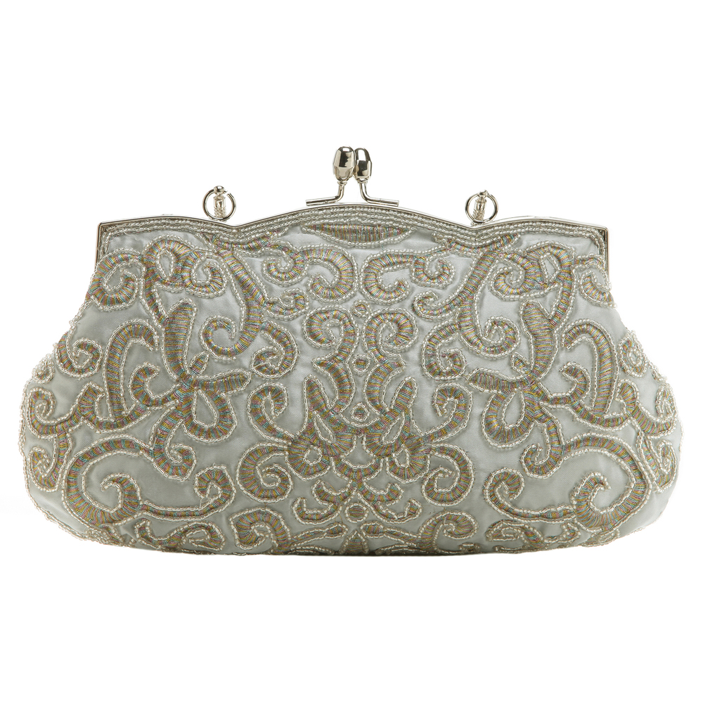 ADELE Silver Embroidered Evening Bag back