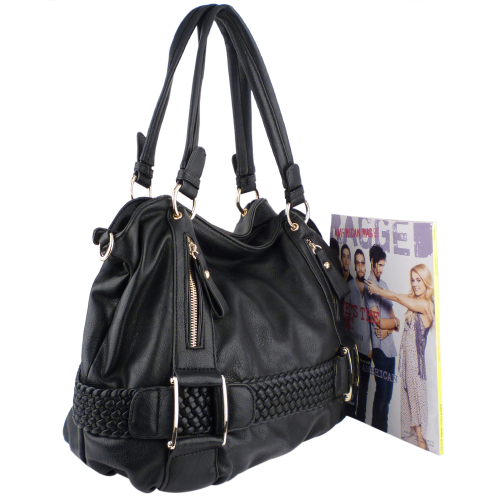 MG Collection Hobo's - SAMANTHA Black Weave Pattern Soft Hobo Handbag Size