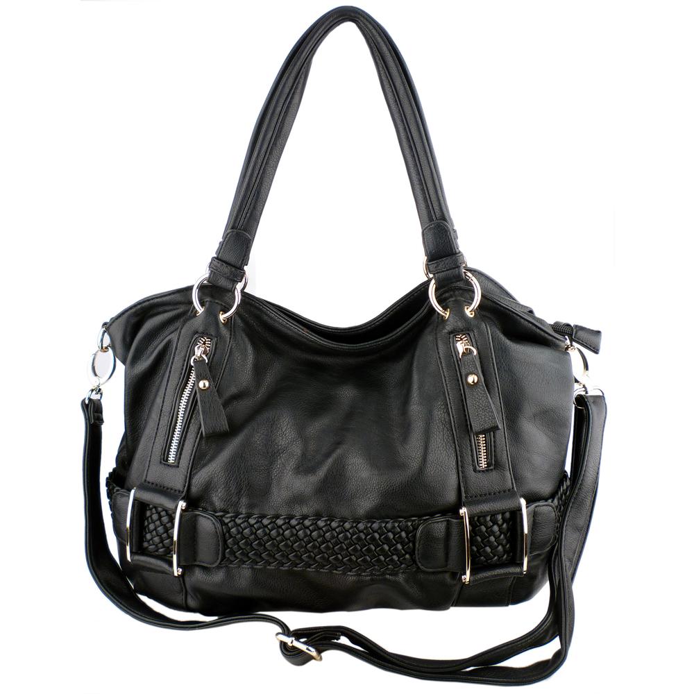 MG Collection Hobo's - SAMANTHA Black Weave Pattern Soft Hobo Handbag Front