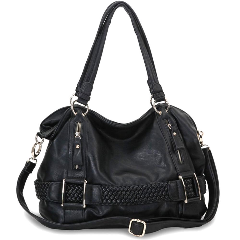 MG Collection Hobo's - SAMANTHA Black Weave Pattern Soft Hobo Handbag Main