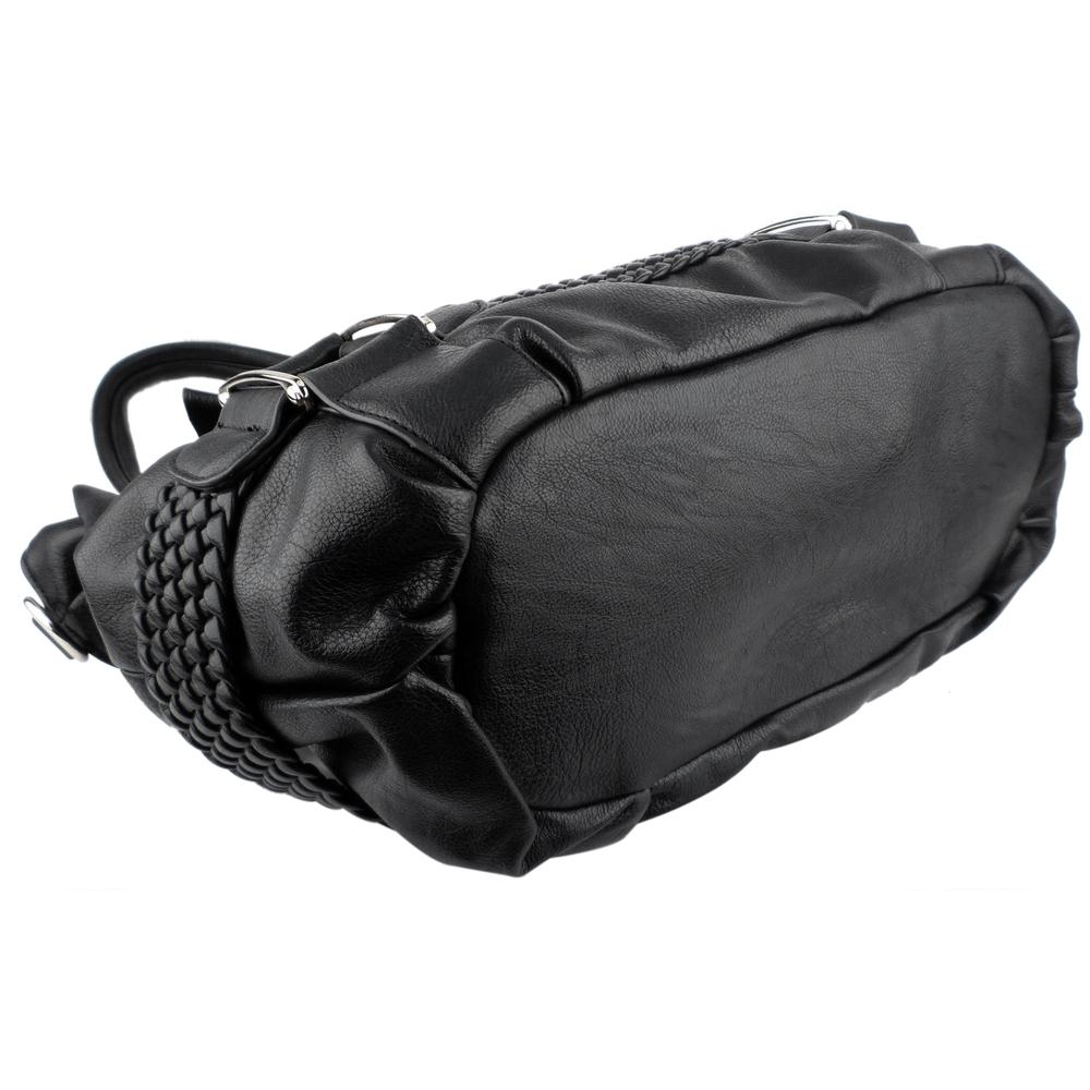 MG Collection Hobo's - SAMANTHA Black Weave Pattern Soft Hobo Handbag Bottom