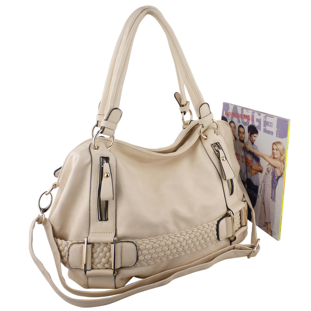 SAMANTHA Cream Weave Pattern Soft Hobo Handbag Size