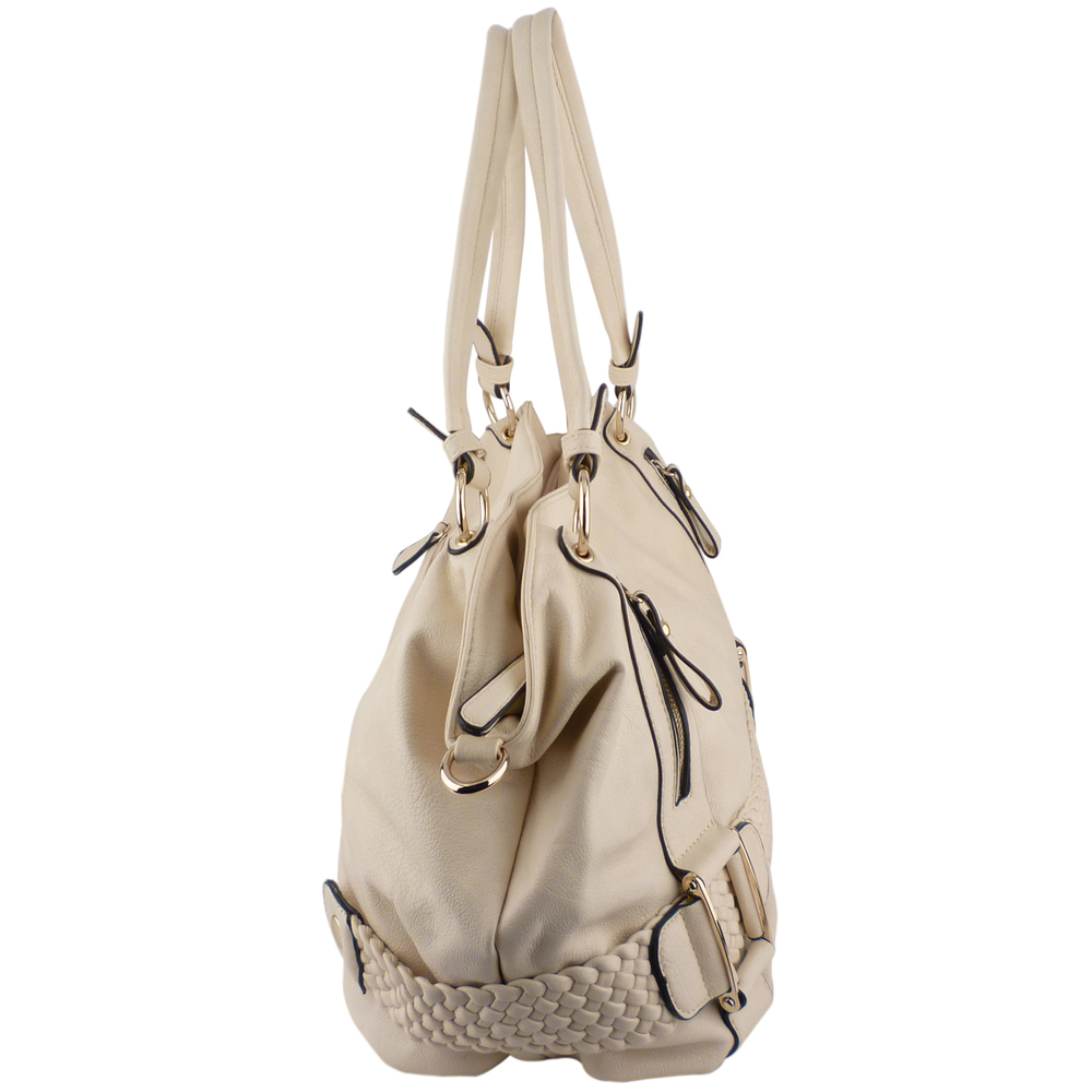 SAMANTHA Cream Weave Pattern Soft Hobo Handbag Side