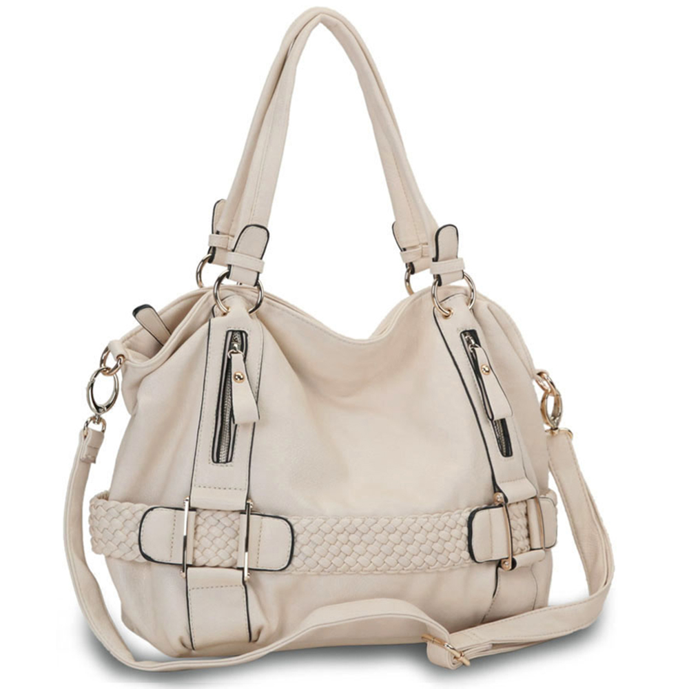 SAMANTHA Cream Weave Pattern Soft Hobo Handbag main