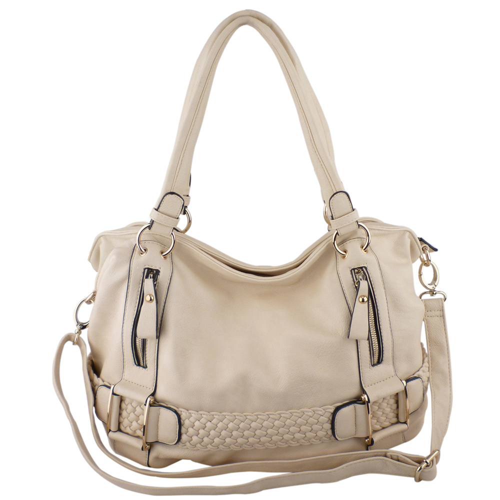 SAMANTHA Cream Weave Pattern Soft Hobo Handbag Front