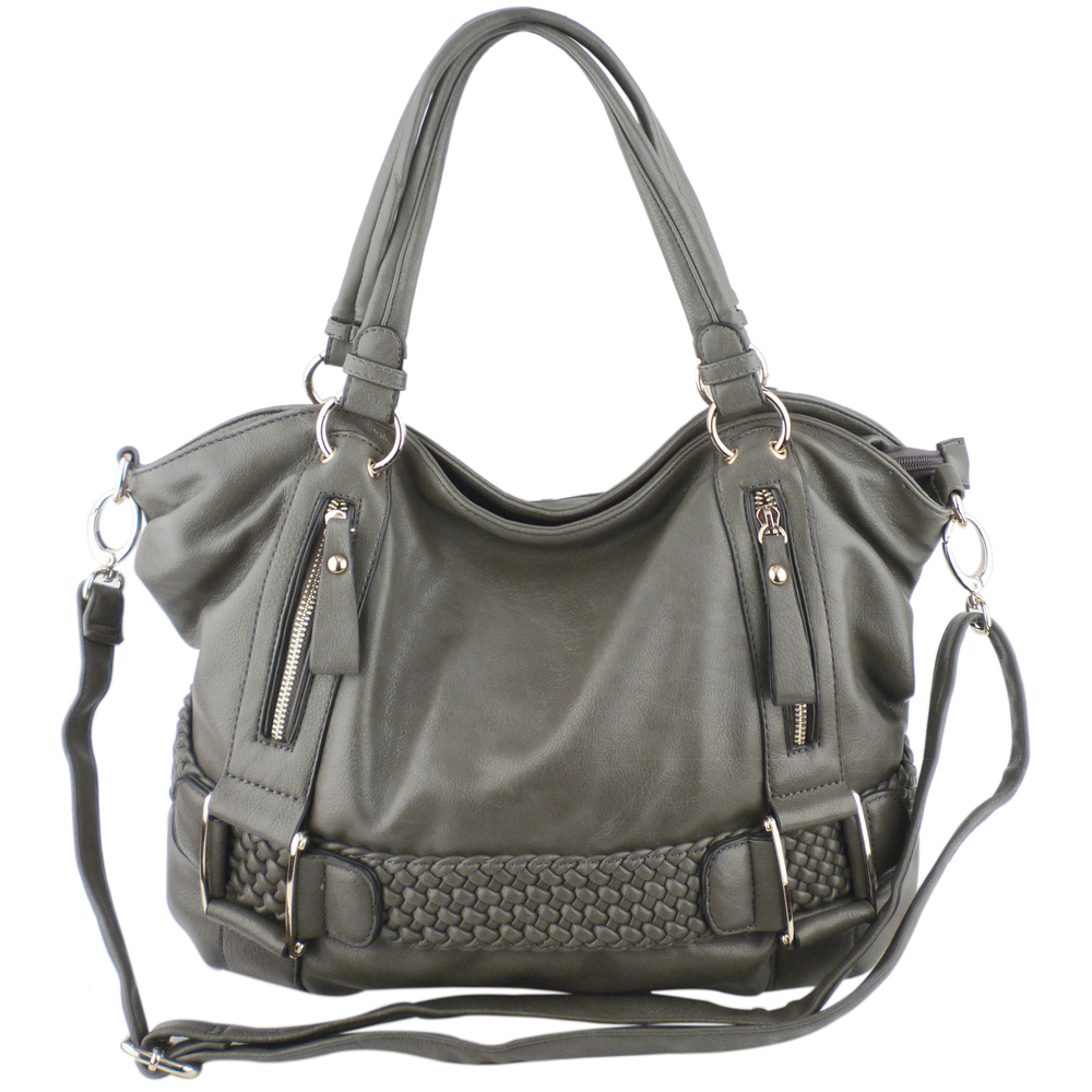 SAMANTHA Dark Grey Weave Pattern Soft Hobo Handbag Main