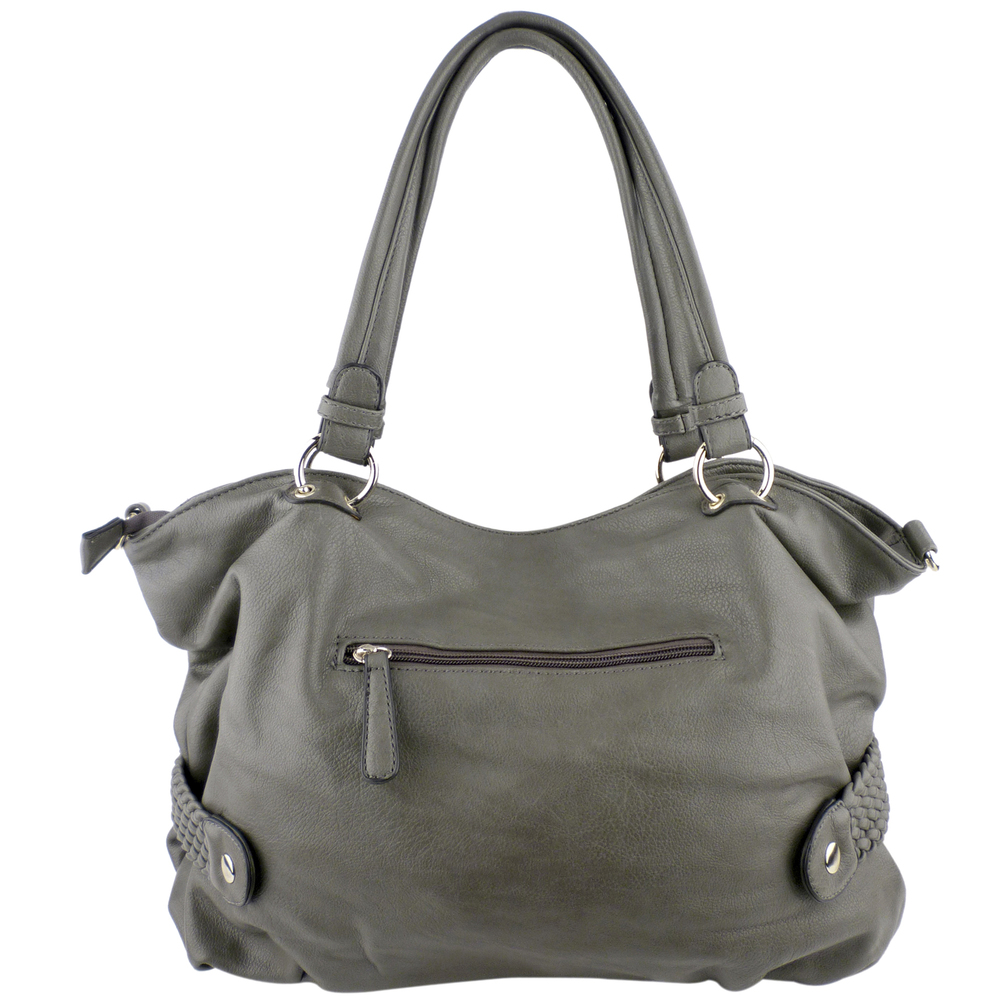 SAMANTHA Dark Grey Weave Pattern Soft Hobo Handbag back