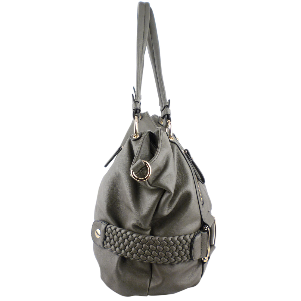SAMANTHA Dark Grey Weave Pattern Soft Hobo Handbag Side