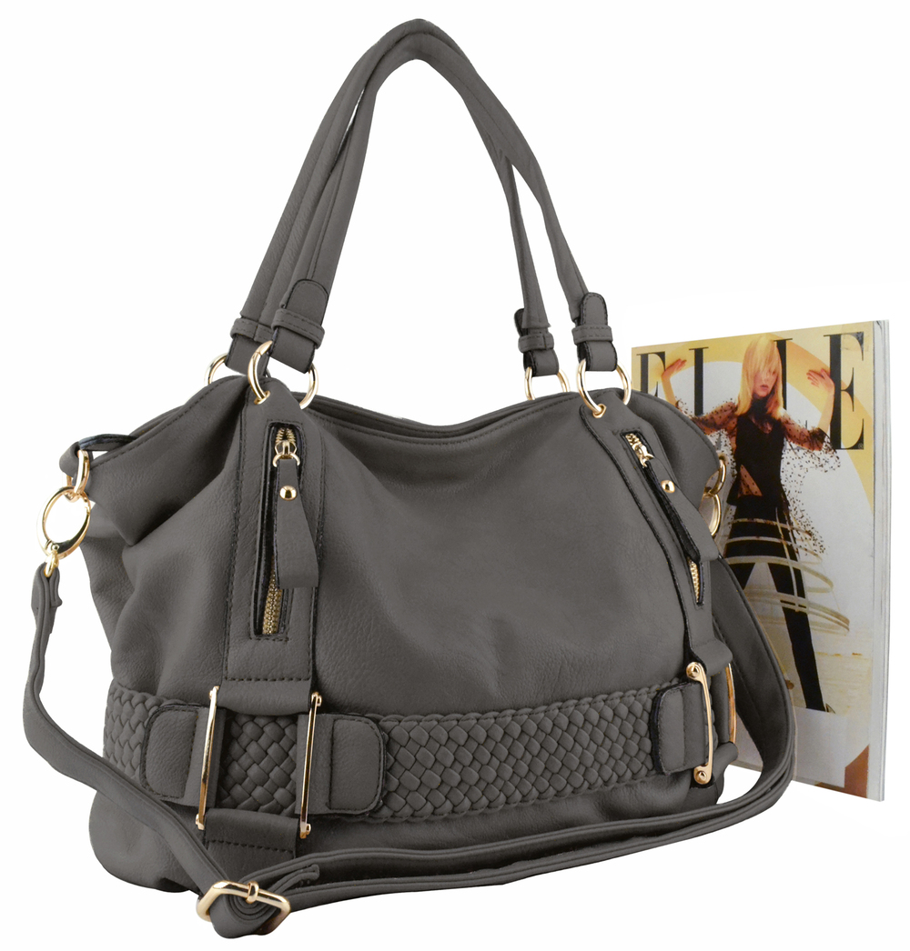 SAMANTHA Pewter Weave Pattern Soft Hobo Handbag size